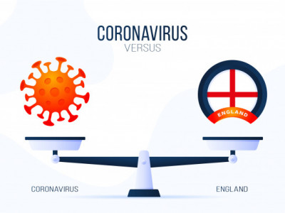 coronavirus england illustration creative concept scales versus one side scale lies virus covid 19 other uk flag icon flat illustration 7280 3438